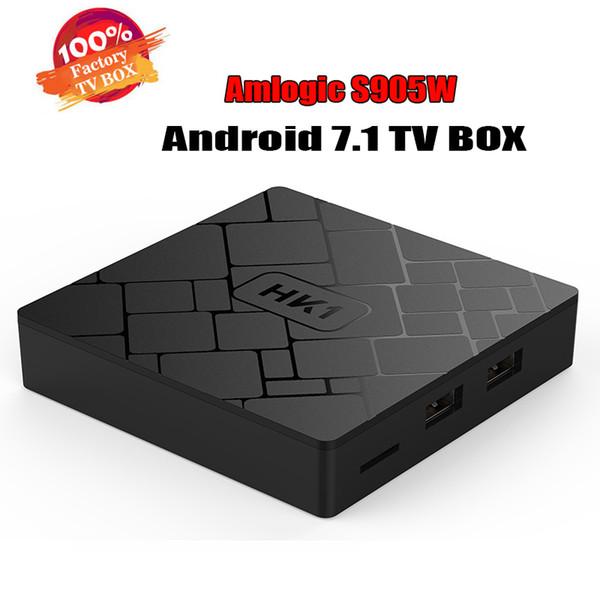 Android 7.1 TV BOX, HK1 Smart TV BOX Lecteur multimédia 16 Go Amlogic S905W Coffret décodeur TV Internet Wifi 4K Meilleur TX3 MXQ PRO RK3229