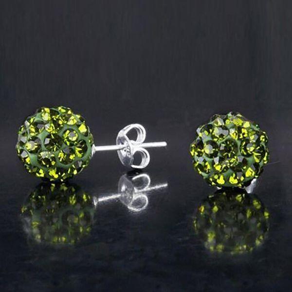 New 925 Sterling Silver Stud Earrings Shambala Ball Diamond Crystal Disco Beads Candy Earring Fashion Jewelry for Women Girls High Quality