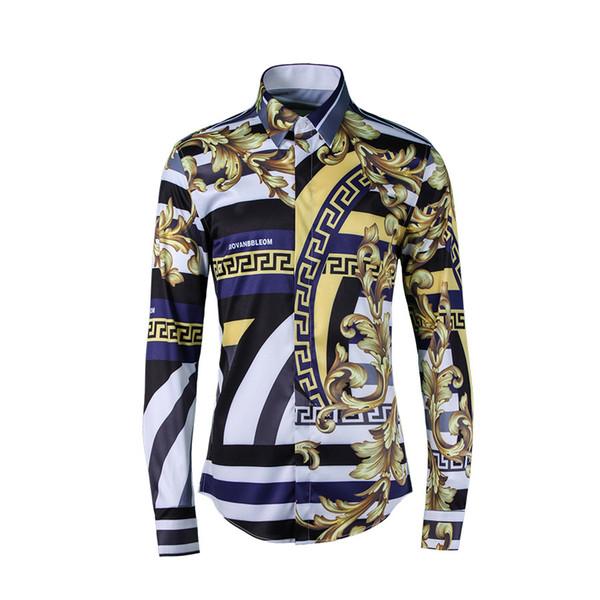 Nova chegada Outono Flor Stripe Camisas Dos Homens Camisas Casuais Turn-down Collar Broadcloth Impressão de alta qualidade plus size MLXL2XL3XL4XL