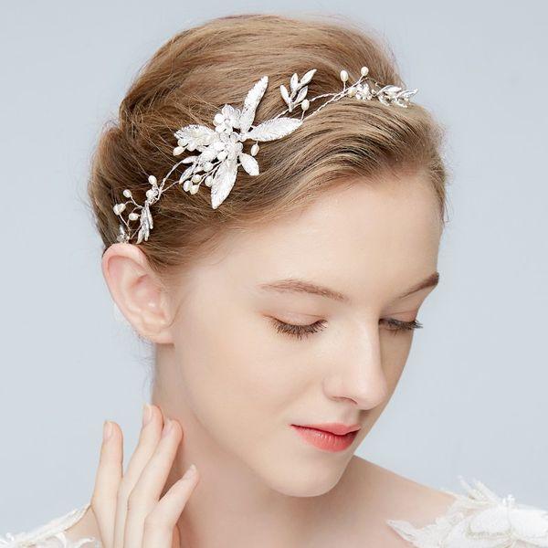 New Design Silver Leaf Hair Jewelry For Women Pearls Wedding Hair Vine Accessories Handmade Bridal Headband Headpiece
