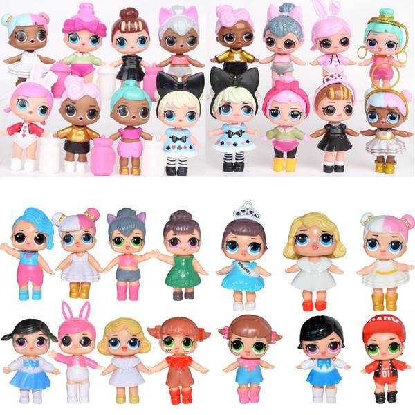 7-9 CM Muñeca con biberón American PVC Kawaii Niños Juguetes Anime Figuras de Acción Realistas Muñecas Reborn para niñas 6-8 Unids / set