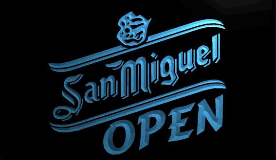 LS719-b-San Miguel Beer OPEN Bar 3D LED Neon Light Sign Customize on Demand 8 colors to choose