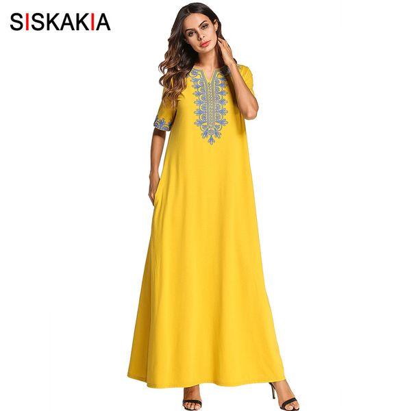 2019 Siskakia Vintage Ethnic Embroidered Maxi Long Dress Brief Fashion  Urban Casual Ramadan Clothing Slim Plus Size Swing Dresses New From Fos8,  ...