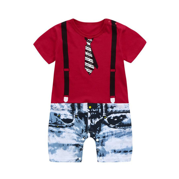 bf23cb9adf48 Tie Overalls Jeans Clothes Set Baby Boys Floral Print Short Sleeve Romper Jumpsuit  Toddler Kids Summer O-Neck Pullover Clothing