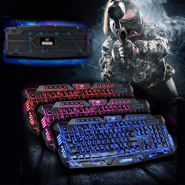 AMZDEAL 3 Colors USB Backlight Gaming Keyboard Keypad Light Switchable Red/Purple/Blue For Computer English High Quality