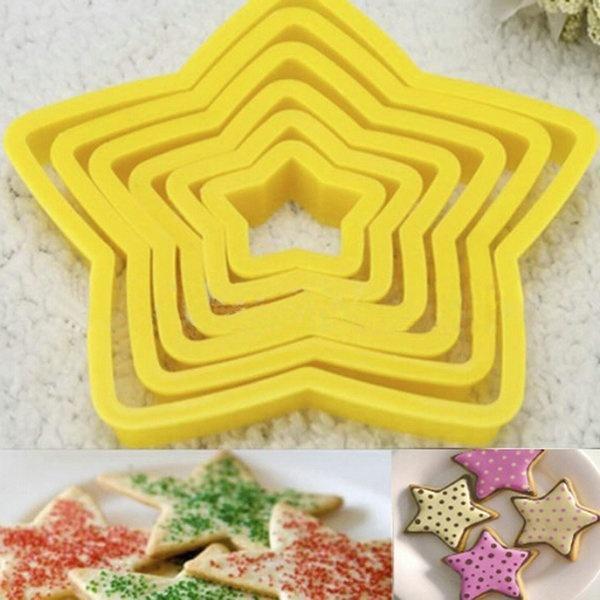도매 6 개 / 몫 3D 다섯개 스타 플라스틱 쿠키 커터 금형 DIY 세트 크리스마스 베이킹 도구 무료 배송