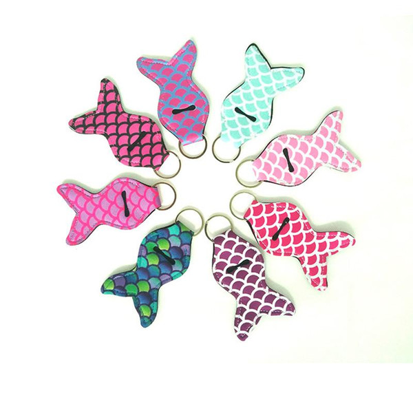 Mermaid Tail Printed Cover Girl Lipstick Keychains Neoprene Chapstick Cover Sleeve Key Ring Multi Colors Key Chain Party Favors