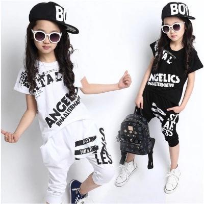 blanco negro niños adultos niña niño JAZZ hip hop hiphop rendimiento danza traje algodón camiseta harem pantalones ropa