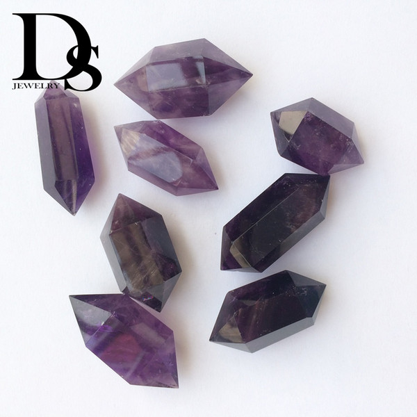 5 pcs Amethyst Wand Natural Prism Purple Crystal Points Double terminated Charms Reiki Crafts Fengshui Birthday Holiday Healing Gifts