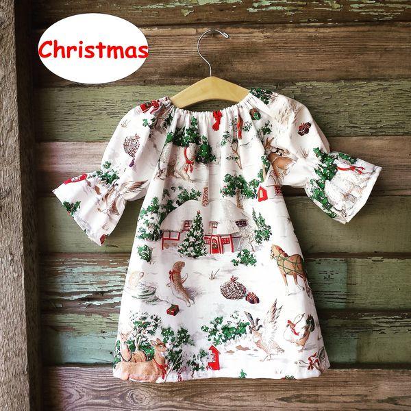 Christmas Girls Dress three quarter sleeve full animal deer print Dress Kids Autumn Winter Ball Gown 5size