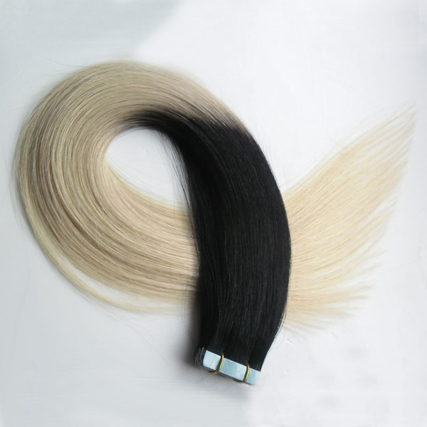 Tape In Extensions Ombre T1B/613 Two Tone Non-Remy 100G 40PCS Human Hair Straight Ombre Skin Weft Hair Extensions
