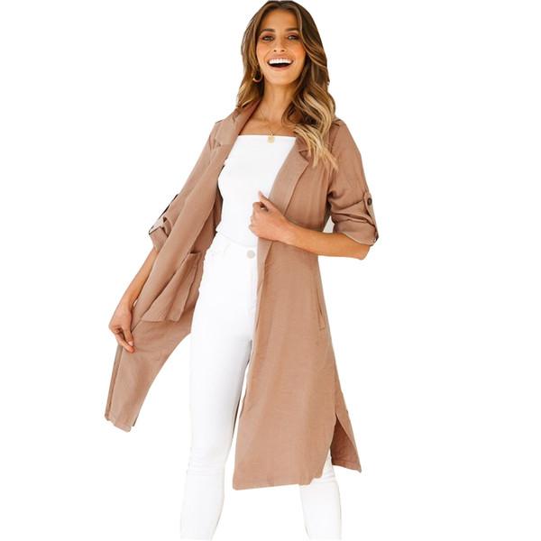 Frauen Herbst Solide Chiffon Long Outwear Jacke Strand Mantel Dame Sommer Langarm Jacke Mantel Kleid Kittel Wind Mantel