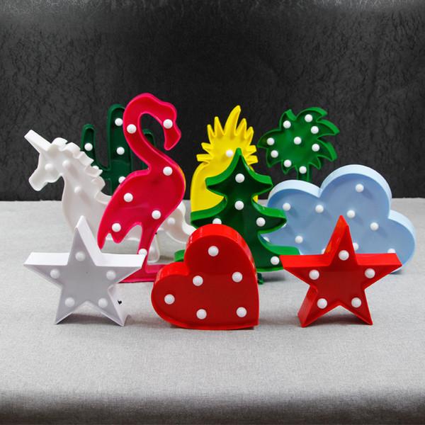 Halloween Weihnachten LED Blinklicht Party liefert Weihnachten LED Kaktus Flamingo Einhorn Giraffe Modellierung Lampen Wohnkultur Nachtlicht C5145