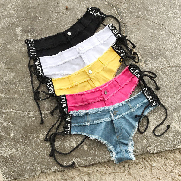 Denim Shorts Female Blue Yellow Short Jeans For Women Punk Rock Vintage Tassel Mini Shots Trousers Femme