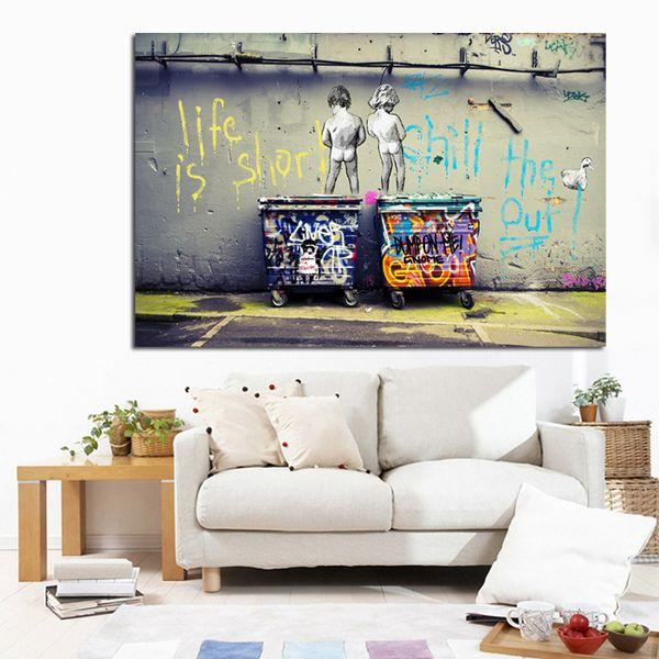 Pop Street Art Graffiti Vida é Curto Frio o Pato para fora Dois Nude Kid Poster Print Canvas Pintura Da Parede Picute para Cuadros Decoração