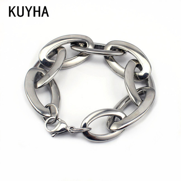 Womens/Girl/Female Bracelet Silver 316L Stainless Steel Oval Wristband Links Chain Jewelry Fashion Accessories