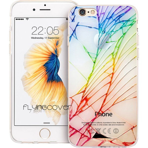 Coque Cool Crack Pattern Clear Soft TPU Silicone Phone Cover for iPhone X 7 8 Plus 5S 5 SE 6 6S Plus 5C 4S 4 iPod Touch 6 5 Cases.