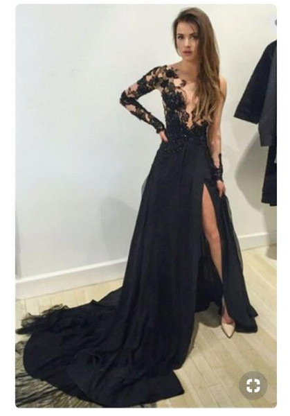 top popular 2019 New Sexy black Long Sleeves Formal Evening Dress Slim Fit Side Split Prom Party Gowns Train Length Custom Made Elegant prom dresses 2020