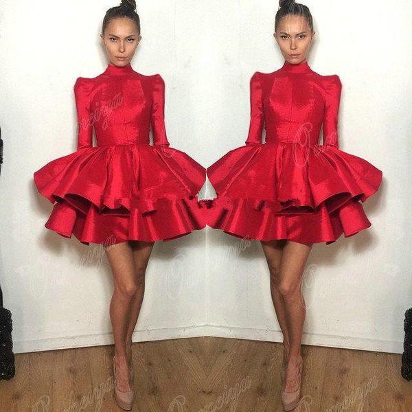 Red Taffeta Puffy Skirt High Neck Long Sleeve prom homecoming dresses 2018 ruffles puffy skirt short Cocktail party Dress
