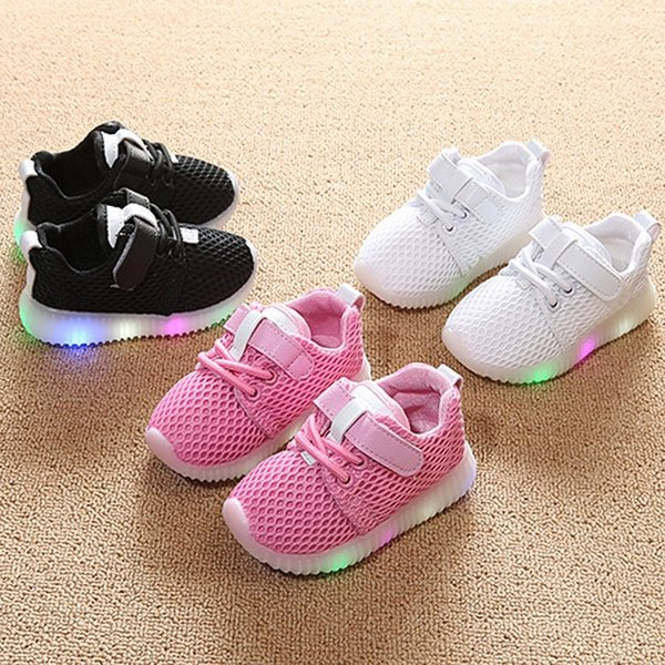 Children LED Breathable Mesh Casual Shoes 3 Colors Baby Lovely Lace-up First Walkers Toddler Shoes Baby Newborn Shoes Free Shipping B0070