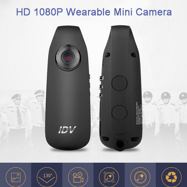 IDV007 HD Digital Mini Camera with Clip Wearable Mini DV Camera Noise Reduction Video Voice Recorder with 560mAh Battery Small Car DVR Cam