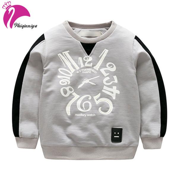 weiqinniya erkek tişörtü sonbahar çocuk mektup desen tişörtü erkek moda çocuk spor kazak kış çocuk giysileri