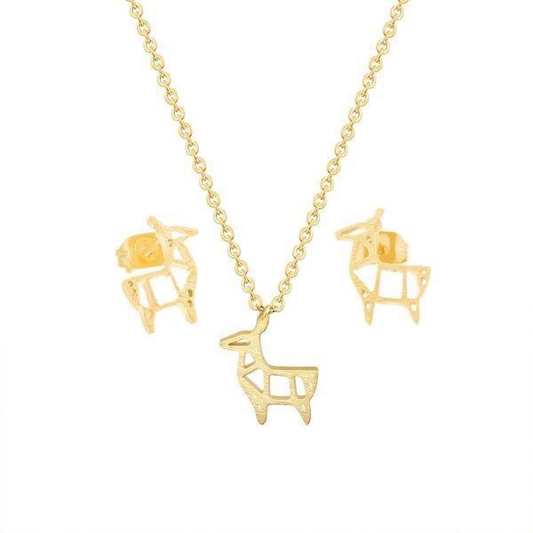 Cute Origami Deer Pendant Necklace Stud Earrings For Women Men Animal Jewelry Sets Stainless Steel Goat Colar Brinco Feminino