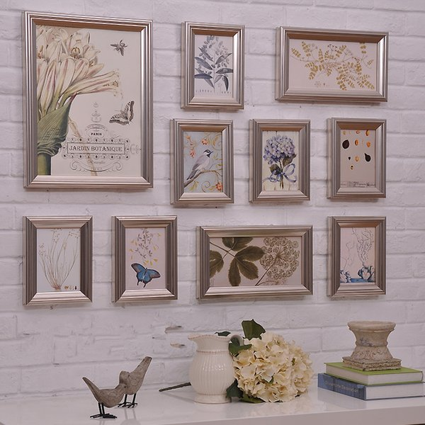10 Pieces Europe Style Wedding Photo Frame Sets Retro Wood Picture Frame Luxury Combination Wall Home Decor Free Shipping