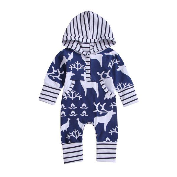Christmas Baby Boys Girls Romper Autumn Cartoon Deer Hooded Toddler Long Sleeve Jumpsuit Fashion Infant elk Stripe Onesie 2Colors