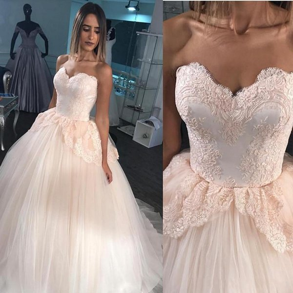 2018 Blush Quinceanera Dresses Lace Sweetheart Puffy Tulle Ball Gown Prom Dress Sweet 16 Formal Evening Gowns For Teens Plus Size