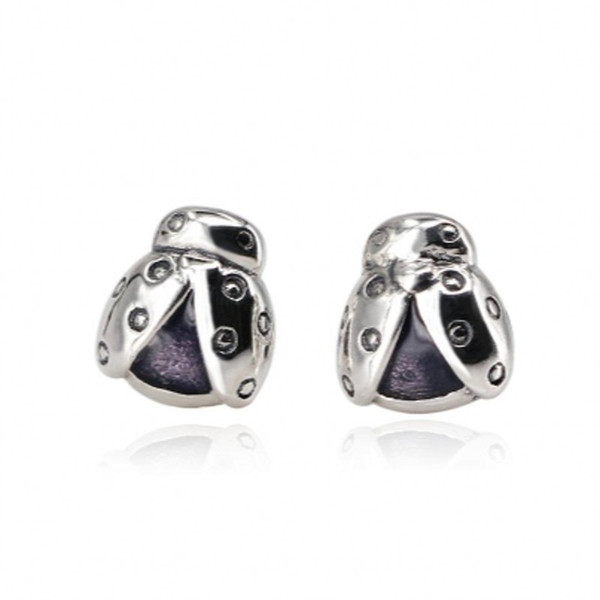 2018 Sutumn New Authentic 925 Sterling Silver Ladybird Petite Stud Earrings Ladybug Brincos Earings Ear For Women Fashion Jewelry