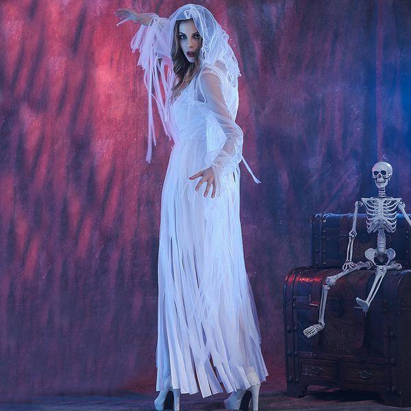 Nouveau Mode Blanc Femmes Halloween Party Ghost Mariée Roleplay Cosplay Femelle Jeu Uniforme Zombie Ghost Vampire W880324