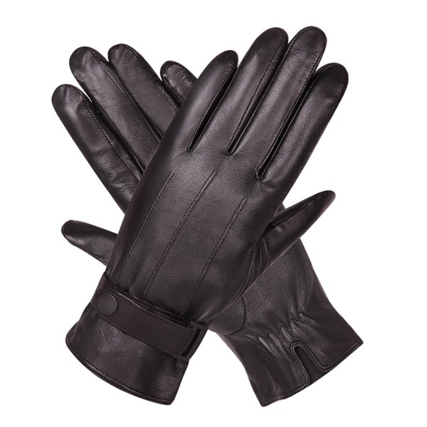 Leather Gloves Man Winter Plus Velvet Thicken Keep Warm Windproof Touch Screen Driving Genuine Leather Gloves Male M18005NC-9
