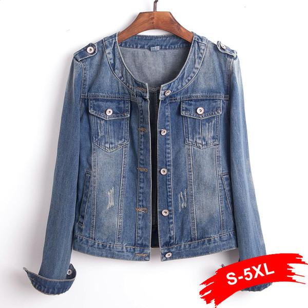Plus Size Round Collar Jeans Jacket 4XL 5XL Sweet Women Light Blue Bomber Short Denim Jackets Long Sleeve Jaqueta Casual Coat L18100904