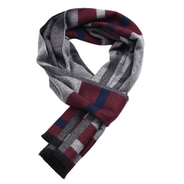 2018 Hot Sale Fashion Men's Contrast color Scarf Big Plaid Stripe Design Soft Shawl High Quality New