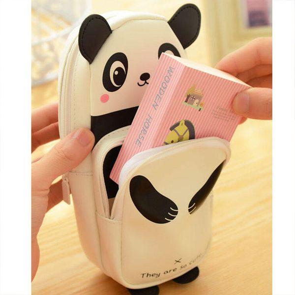 Adeeing Pretty Cute White Panda Pencil Case Pouch Box Bag for Kids Students Office Fashion and cute cartoon Panda design r20