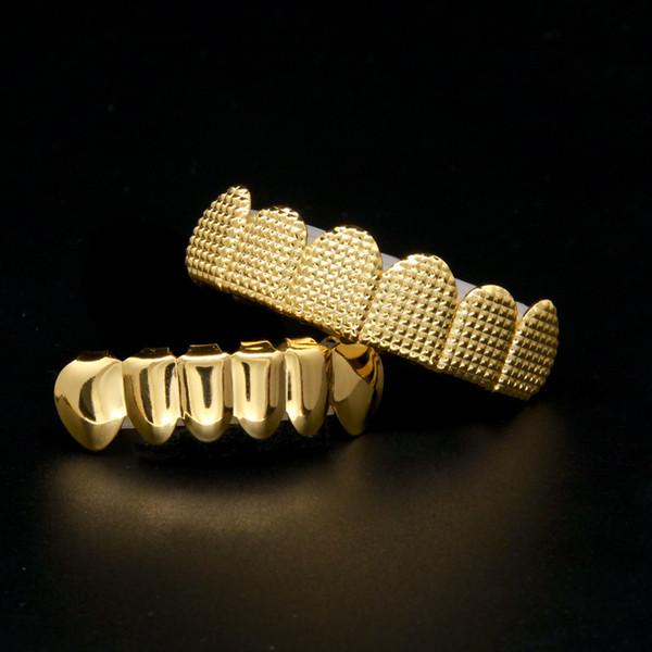Dientes de plata de oro de los hombres grillz 6 Top Bottom Faux Dental diente Grills para mujeres Hip Hop Rapper Body regalo de la joyería
