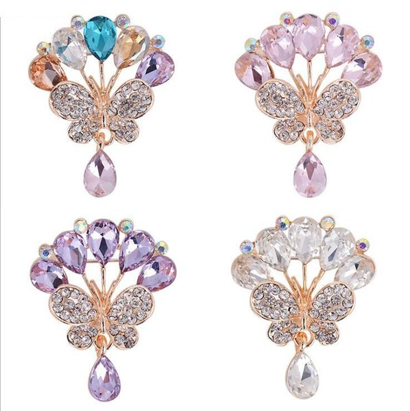 Brand Brooches for Women Crystal Brooch Rhinestone Flower Wedding Accessories Brooch Jewelry Lapel Pin