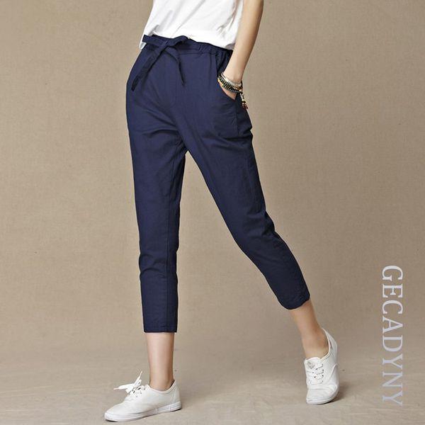 Free Shipping Women Loose Original Design Vintage Linen Female Dazzling Female Drawstring Pants Pure Capris Harem Trousers S914