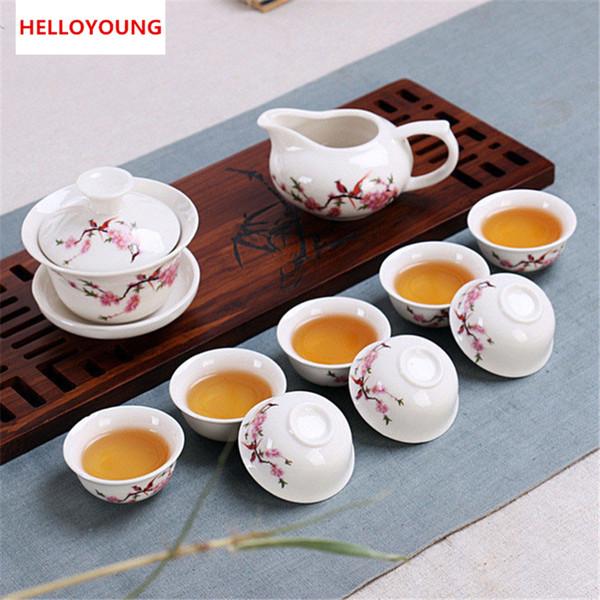 CJ234 Tee-Set Enthalten insgesamt 10 Stück Hochwertige elegante Gaiwan, schöne und einfache Teekanne Wasserkocher chinesischen Porzellan Tee se