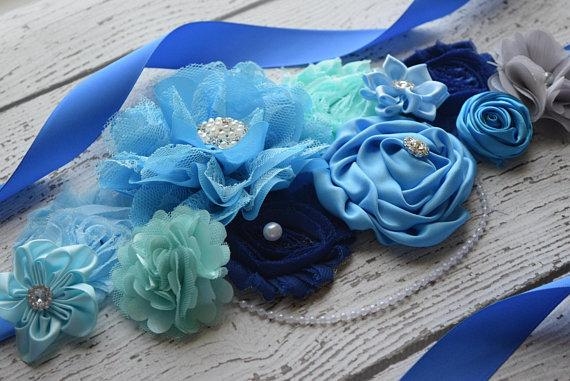 European And American High-end Elegant Handmade Flowers, Belts, High Collocation, Blue Belt, Bridal Girdle, Bride, Pregnant Woma