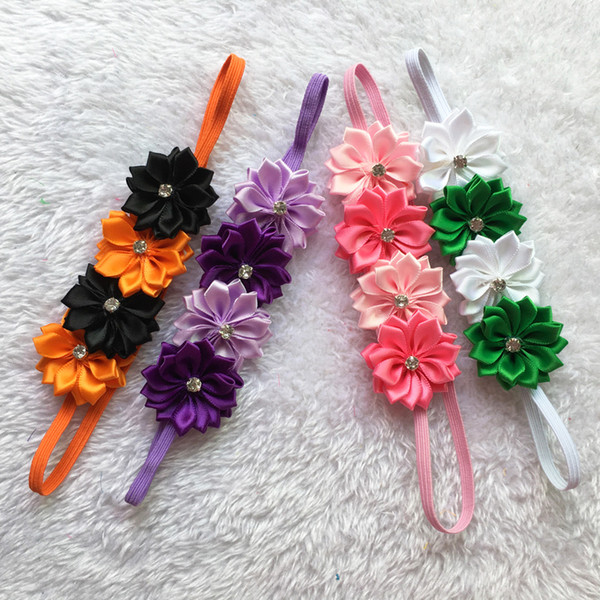 Halloween Baby four Flower Crystal Headbands Baby Elastic Headwear Baby Photography Props New Style Hair Accessories