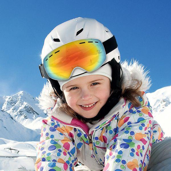 Óculos De Esqui Crianças UV400 Dupla-Lente Anti-fog Espelho Esférico Crianças Esqui Óculos Meninos Meninas Snowboard Equipamentos de Proteção