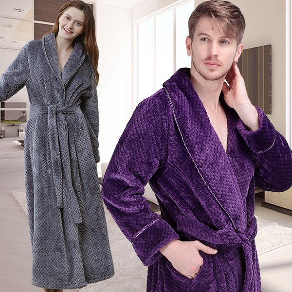 Men Women Winter Extra Long Thick Warm Grid Flannel Bathrobe Mens Thermal Luxury Bath Robe Soft as Silk Dressing Gown Male Robes
