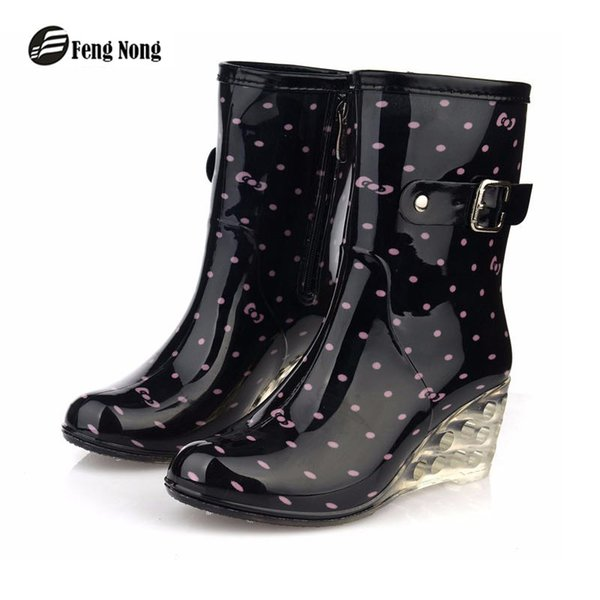 feng Nong new design pvc rain boots waterproof flat shoes woman rain woman water rubber boots good quality botas w052