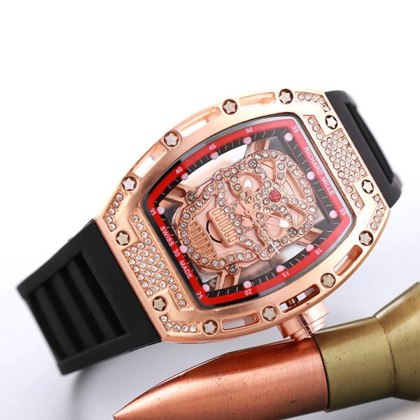 Rubber watchband Rhinestone Diamond inlay Dial Men Women Quartz Watch Hollow Skeleton Ghost Clock dial pam master Watches Free Shipping