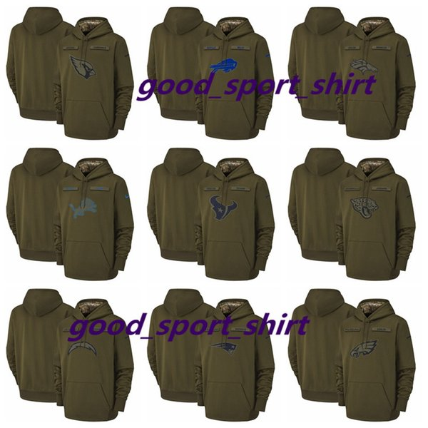 new concept 8fcc2 22d9a 2018 Men Buffalo Bills Denver Broncos Houston Texans Los Angeles Chargers  Salute To Service Sideline Therma Performance Pullover Hoodie Olive From ...