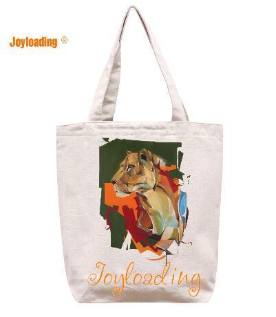 Joyloading Canvas Cartoon Elegant Oil Painting Design Reusable Grocery Shopping Bag Zipper Closure Foldable Tote Bag