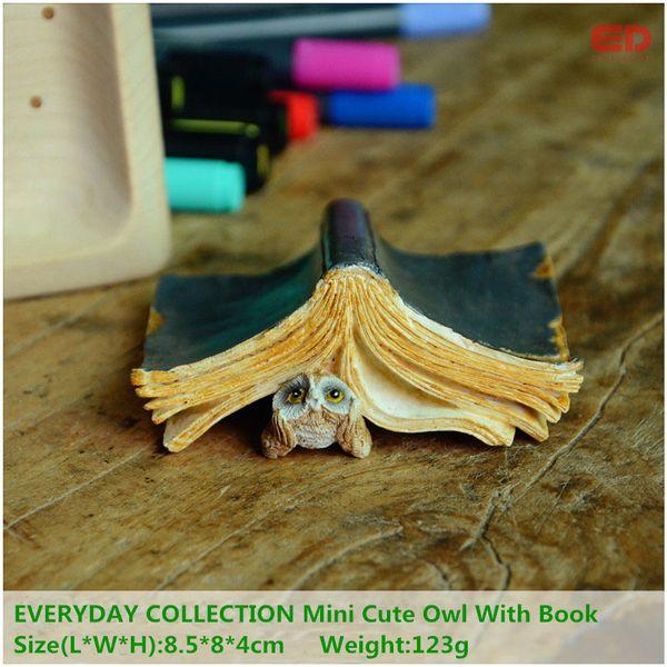 wl collectibles EVERYDAY COLLECTION Mini Cute Owl With Book Resin Craft Miniature Fairy Garden Decor Animal Figurine Moss Terrarium Decor...