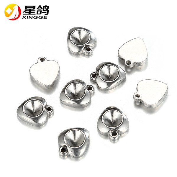 12*14mm Silver Tone Heart Shape Base Setting Jewelry Accessories stainless steel Heart Charm Pendant for handmade necklace bracelet Ornament
